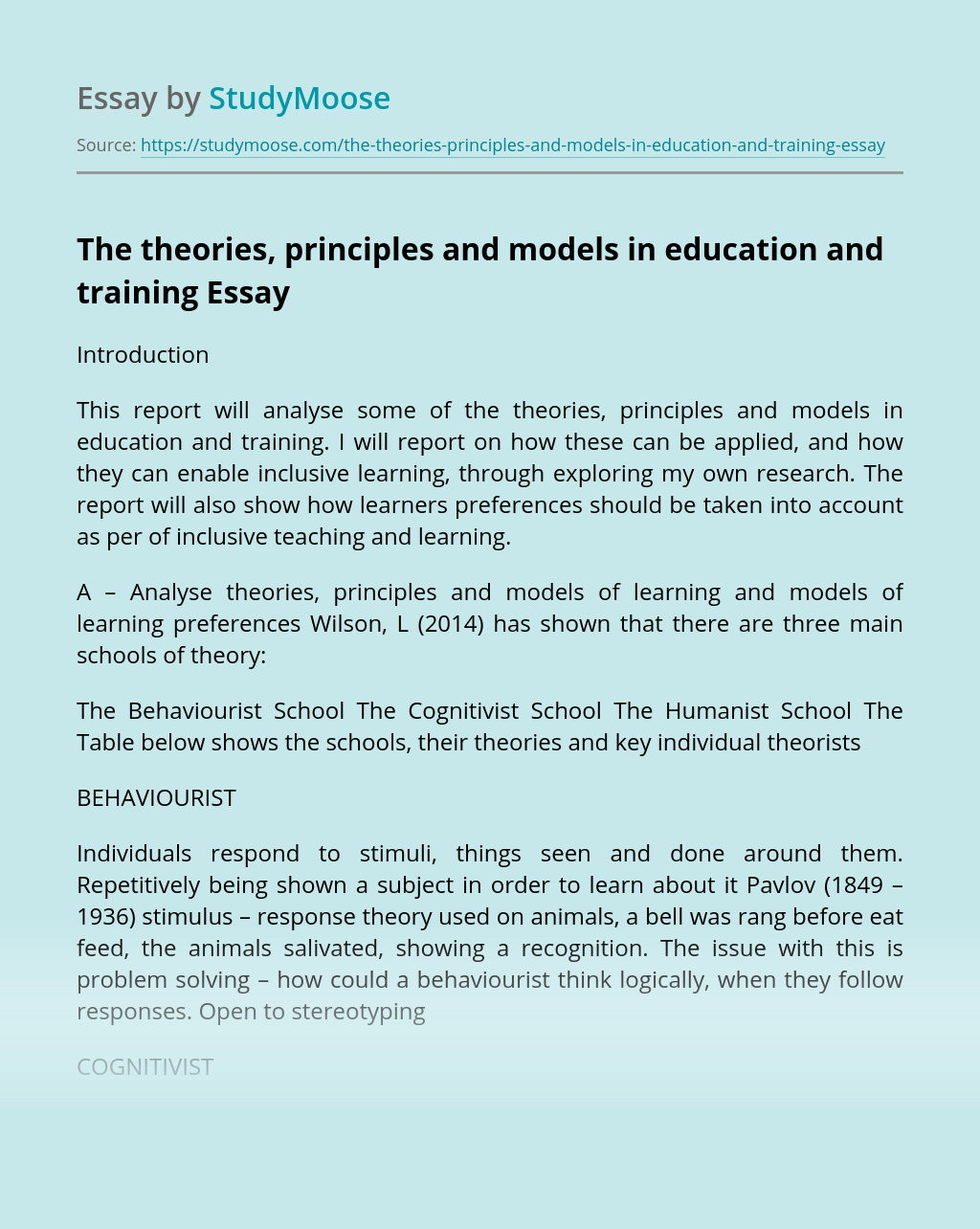 The theories, principles and models in education and training