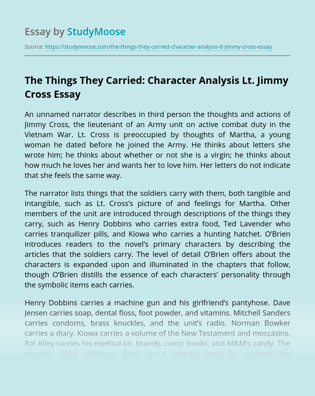 The Things They Carried: Character Analysis Lt. Jimmy Cross