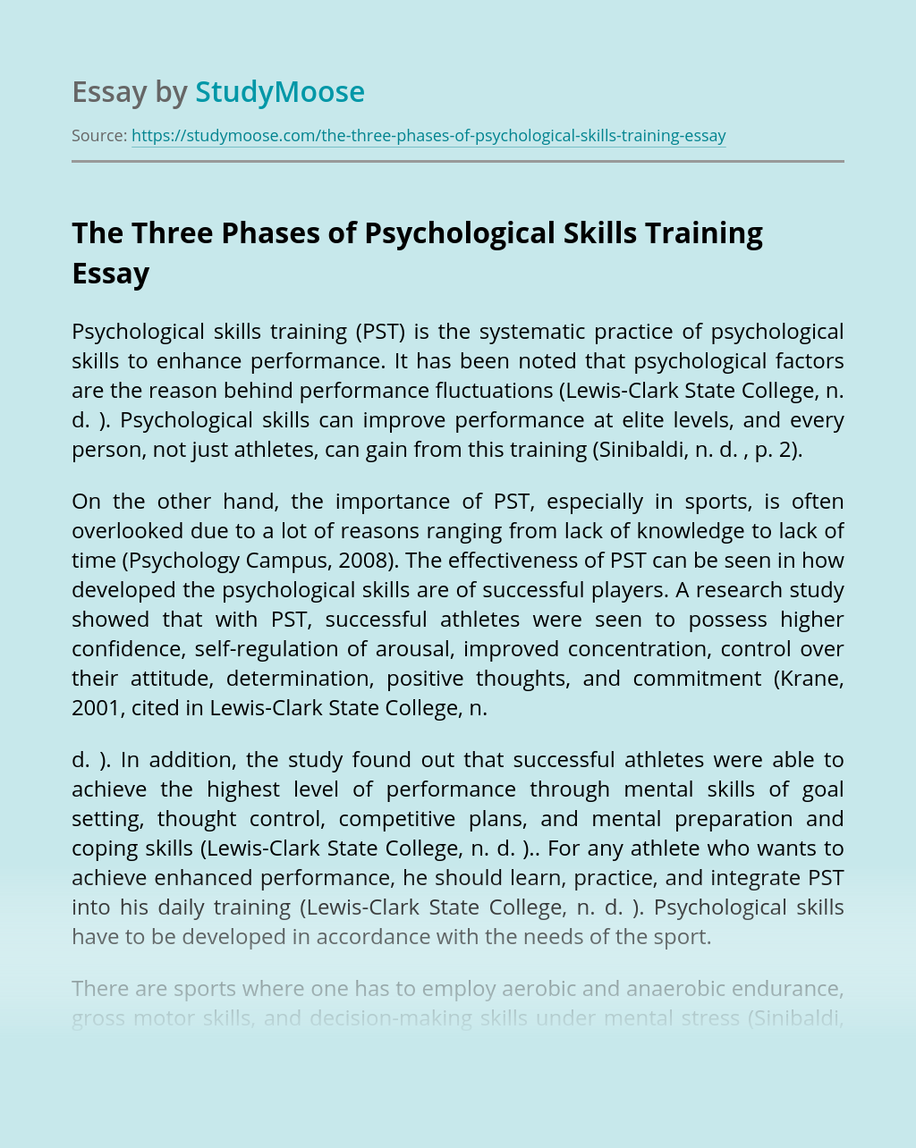 The Three Phases of Psychological Skills Training