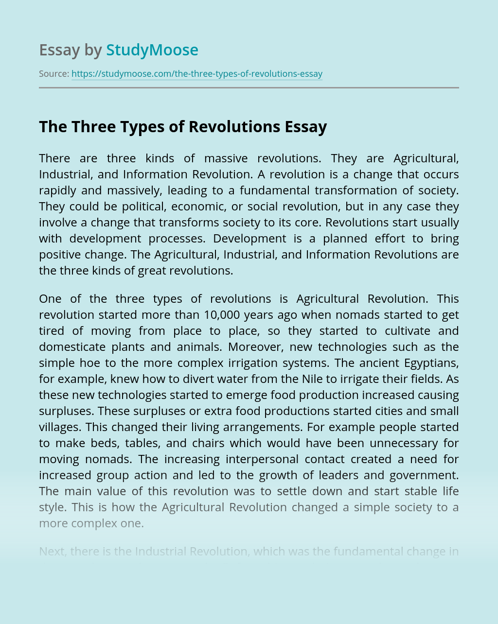 The Three Types of Revolutions