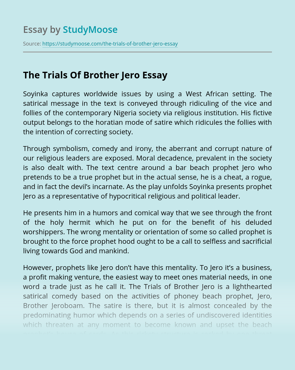 Questions On The Trials Of Brother Jero Essay Example