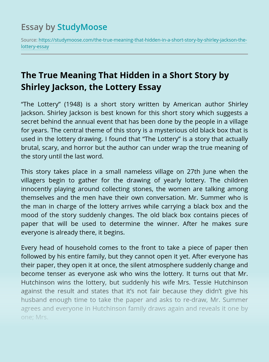 The True Meaning That Hidden in a Short Story by Shirley Jackson, the Lottery