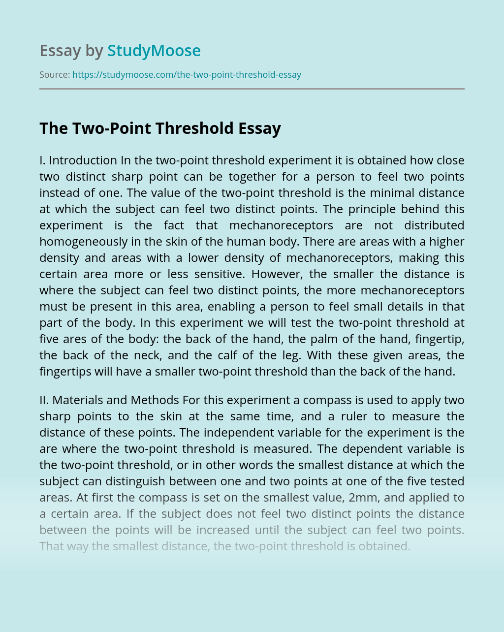 The Two-Point Threshold