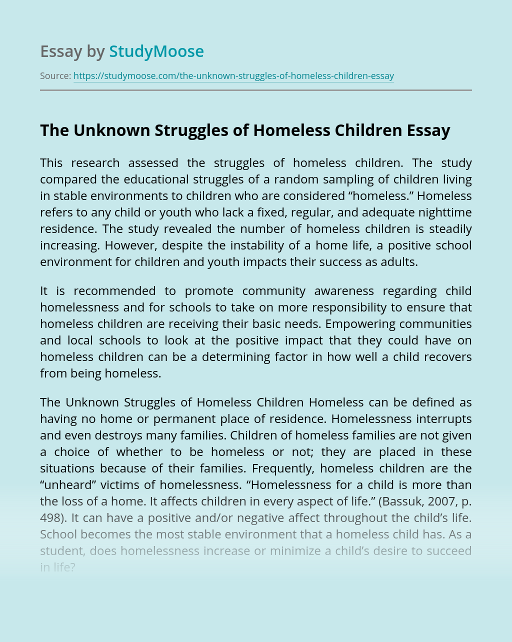 The Unknown Struggles of Homeless Children