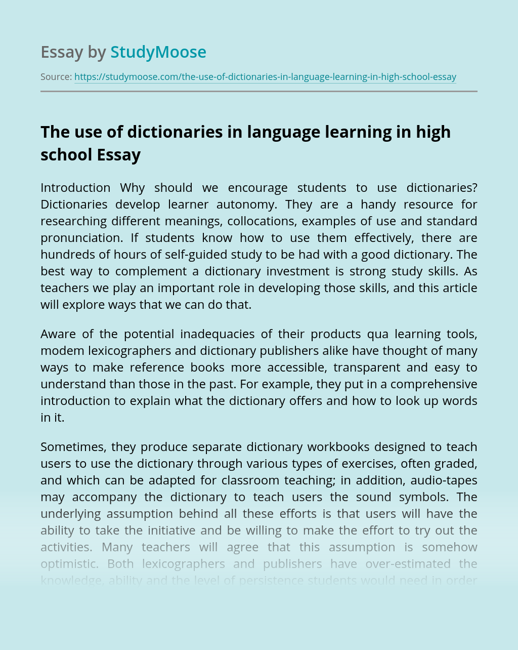 The use of dictionaries in language learning in high school