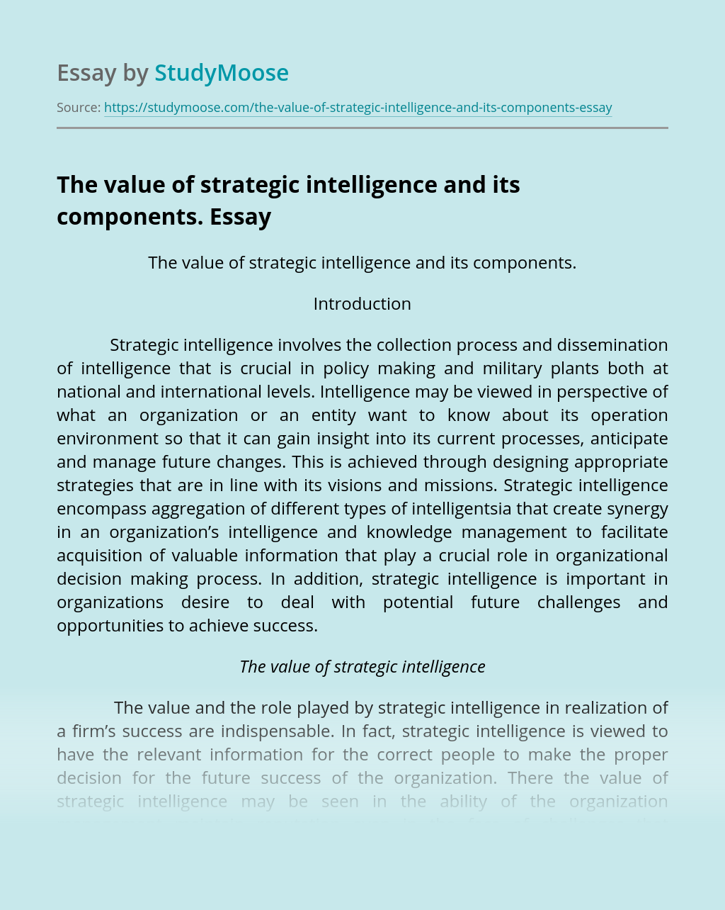 The value of strategic intelligence and its components.