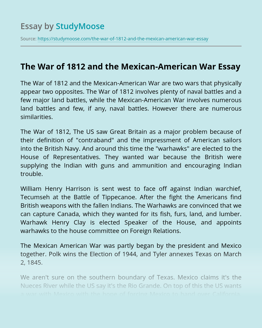The War of 1812 and the Mexican-American War