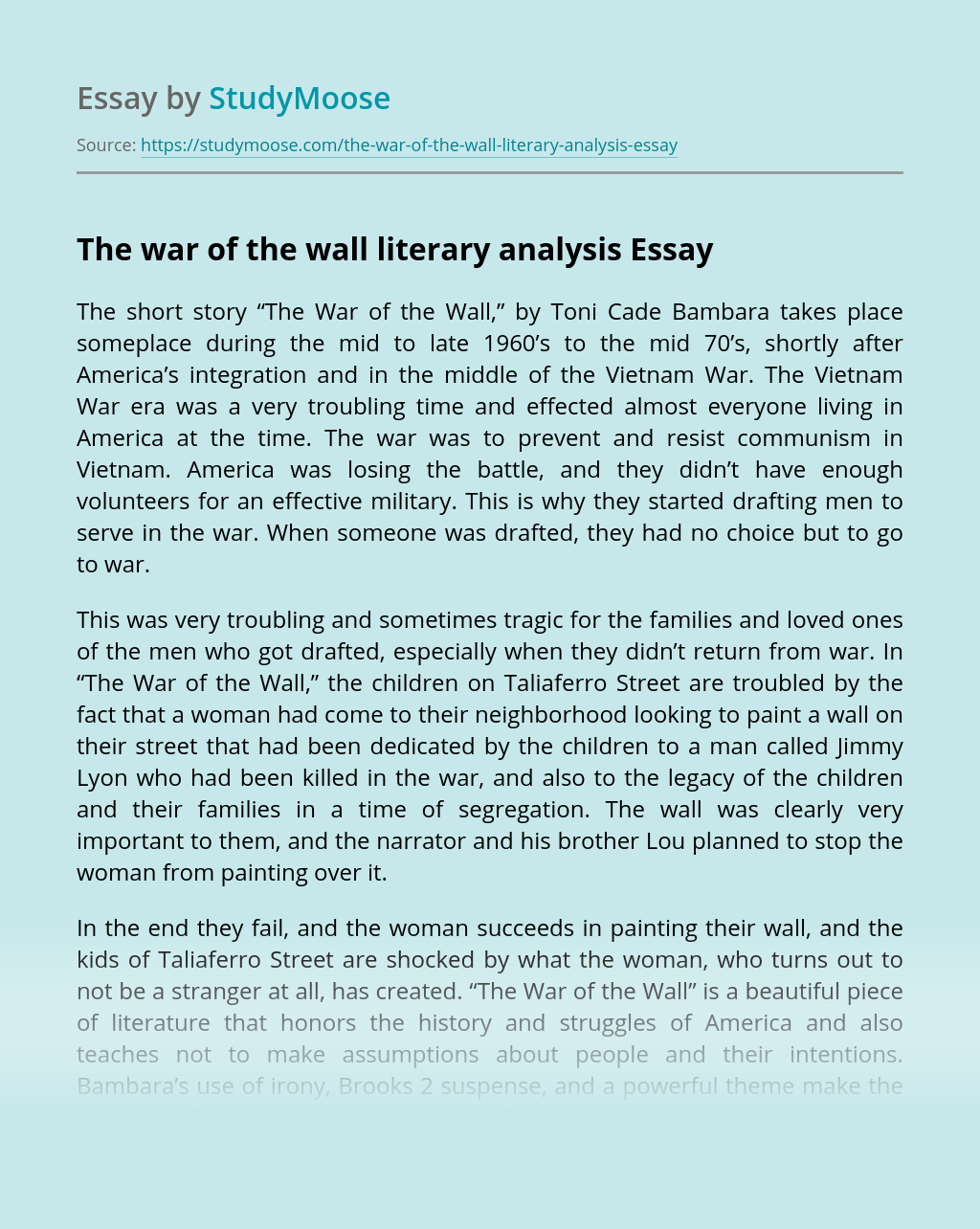 The war of the wall literary analysis