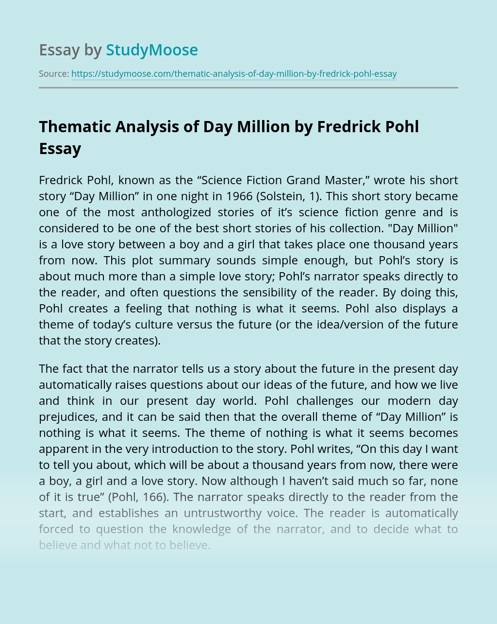 Thematic Analysis of Day Million by Fredrick Pohl