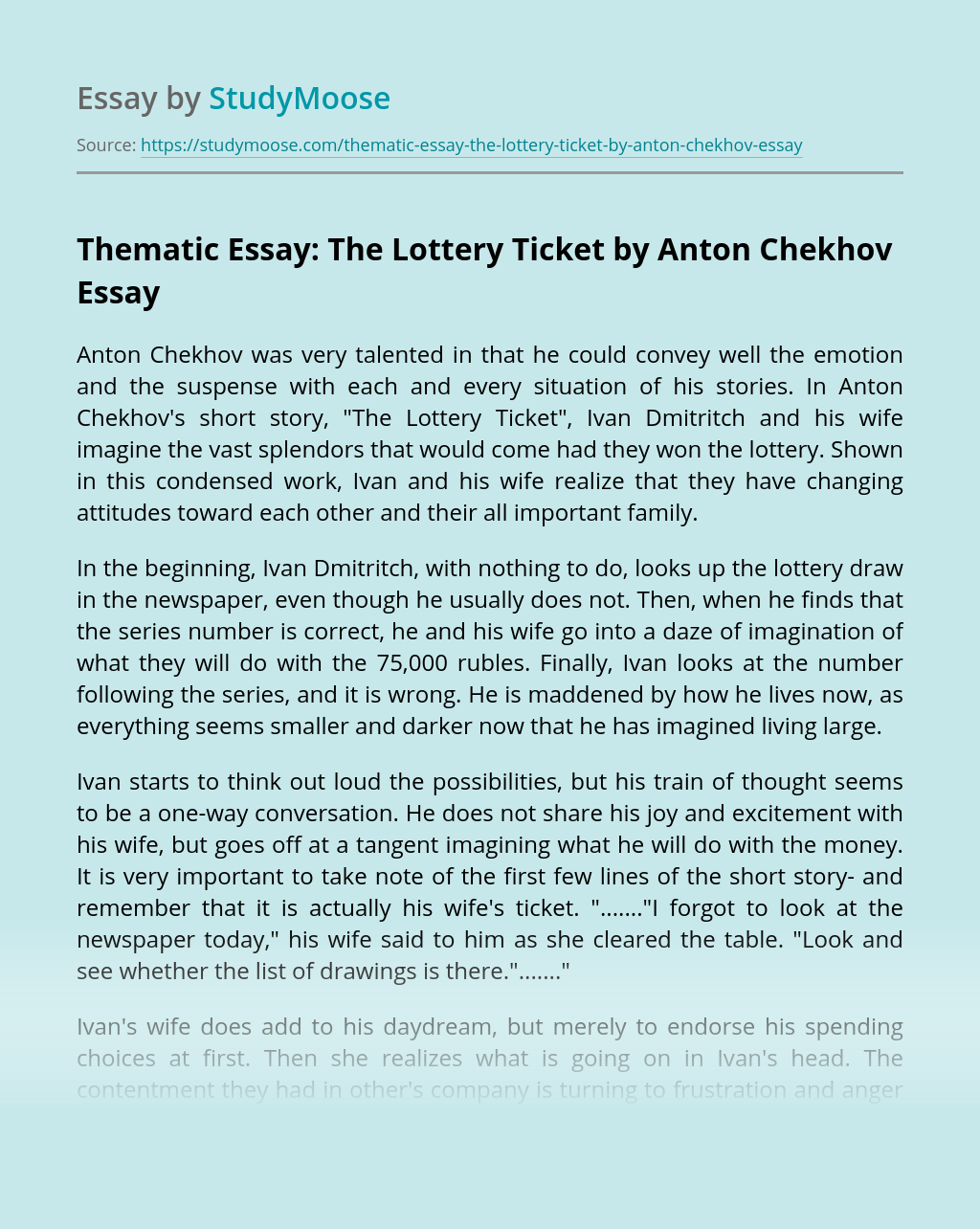 Thematic Essay: The Lottery Ticket by Anton Chekhov