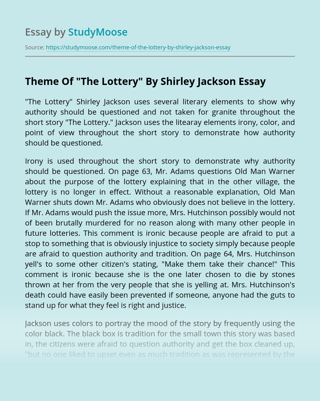 """Theme Of """"The Lottery"""" By Shirley Jackson"""