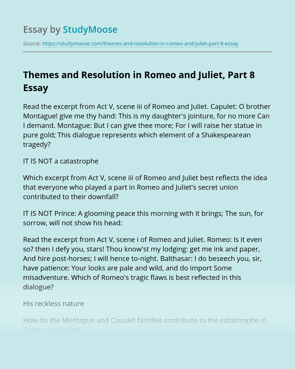 Themes and Resolution in Romeo and Juliet, Part 8
