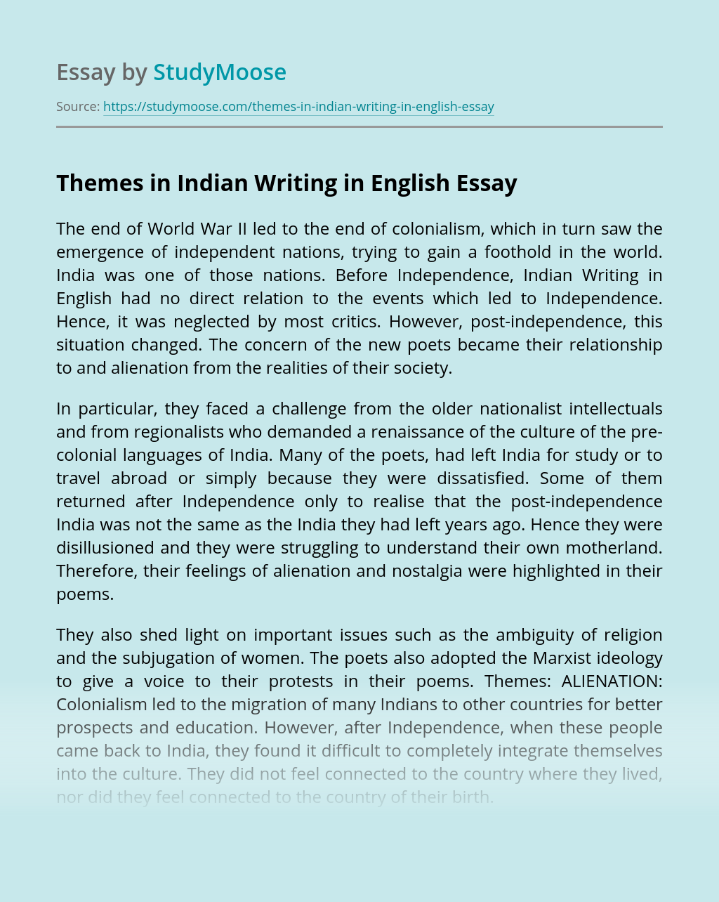 Themes in Indian Writing in English