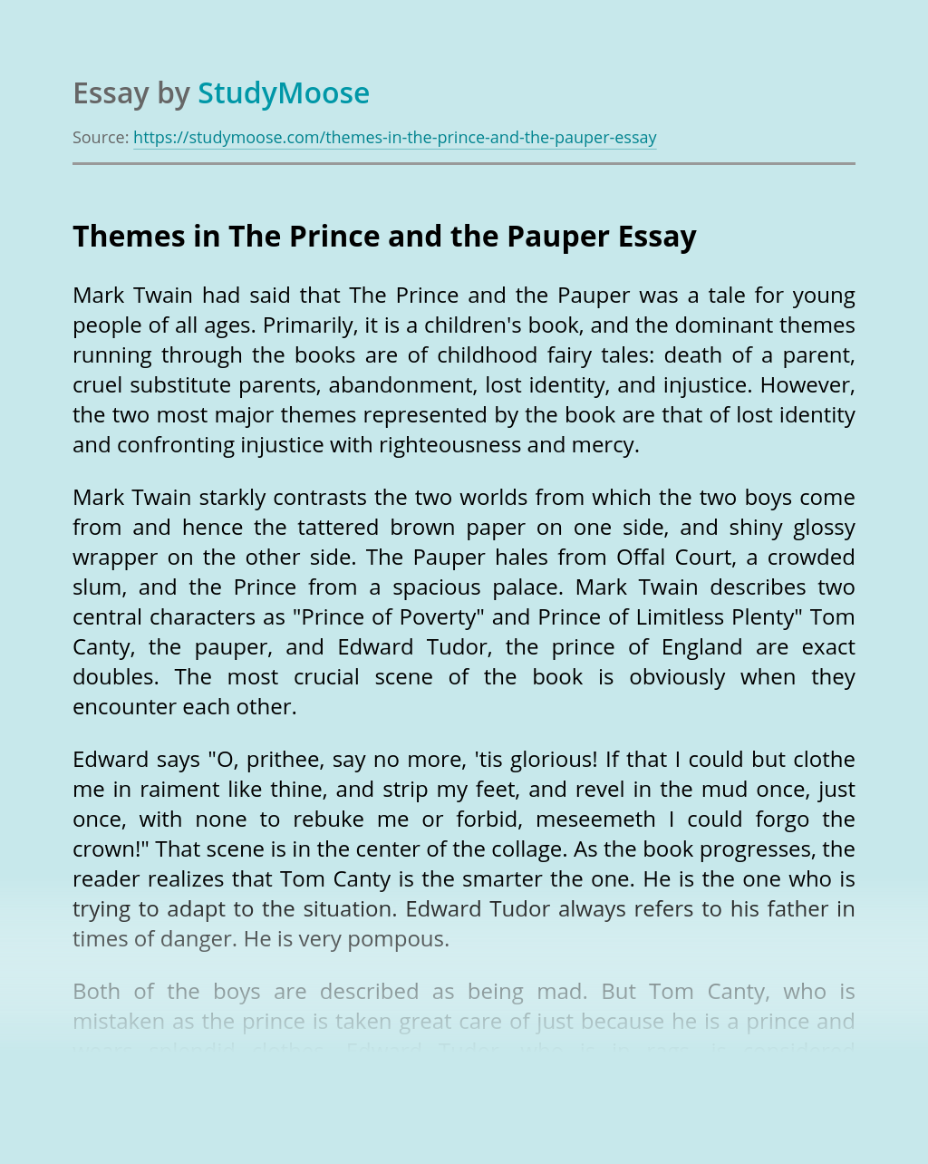 Themes in The Prince and the Pauper