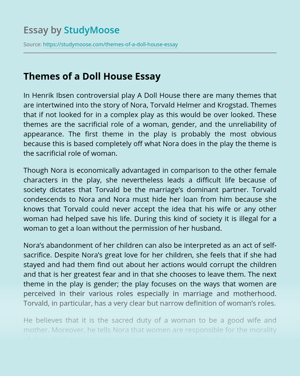 Themes of a Doll House