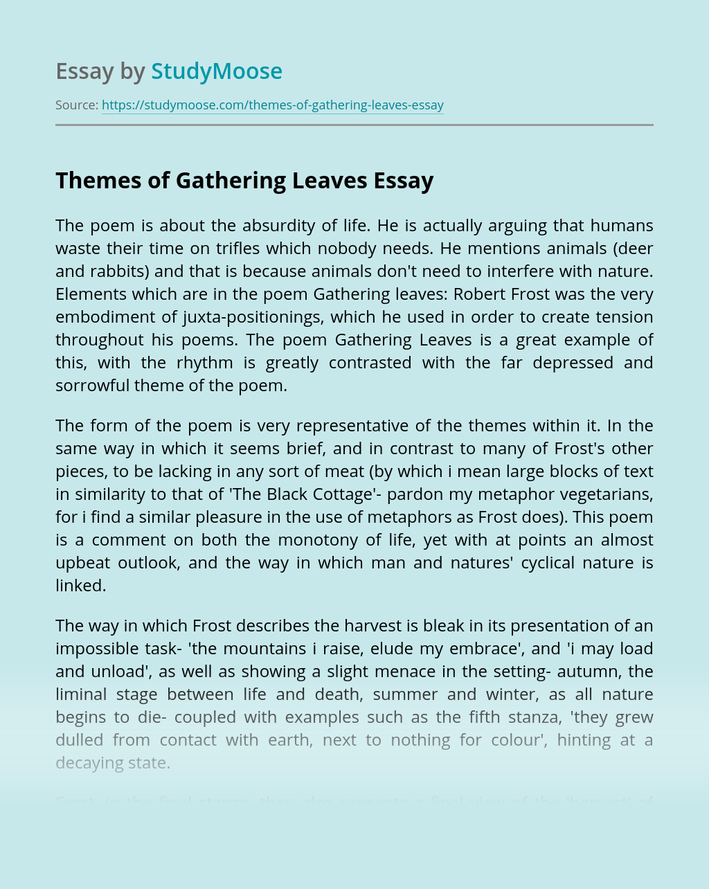 Themes of Gathering Leaves