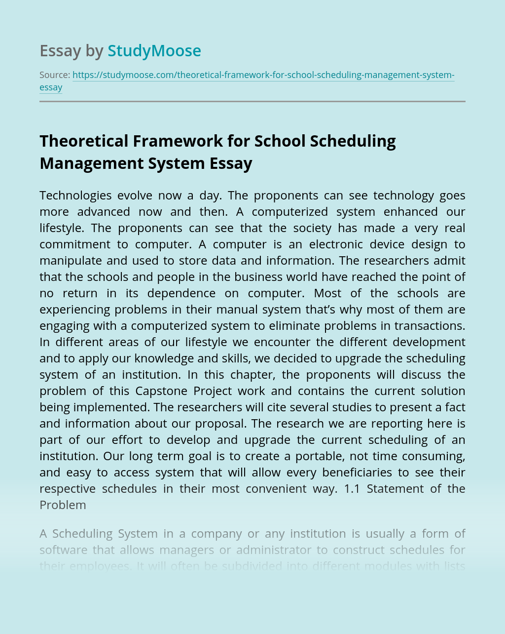 Theoretical Framework for School Scheduling Management System