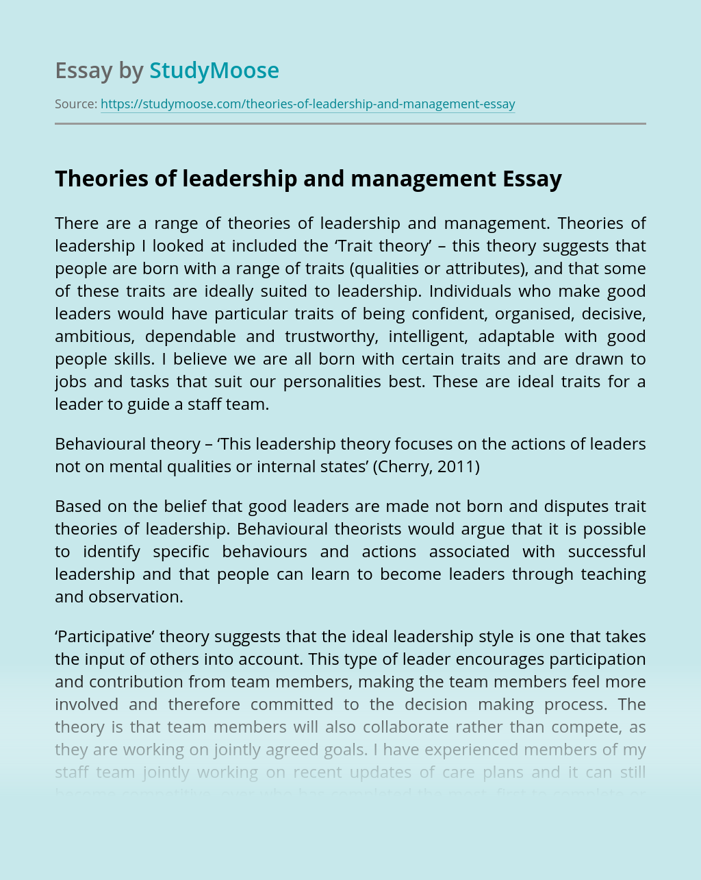 Theories of leadership and management