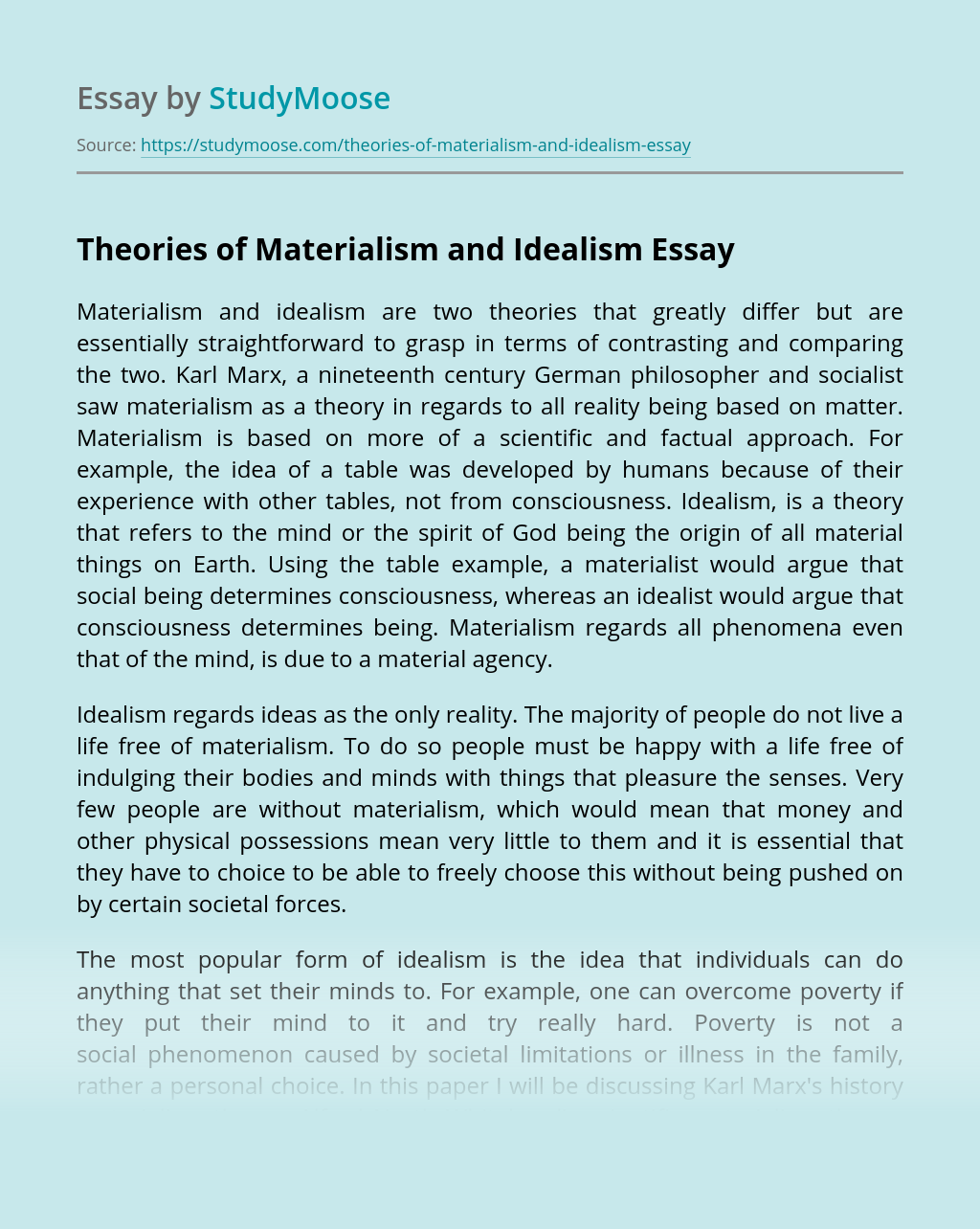 Theories of Materialism and Idealism