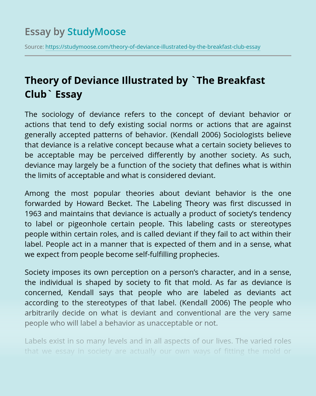 Theory of Deviance Illustrated by `The Breakfast Club`
