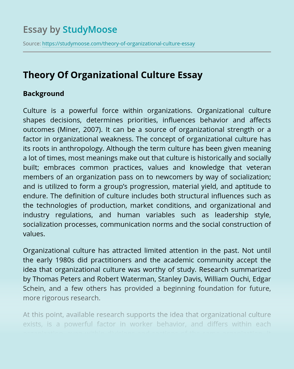 Theory Of Organizational Culture