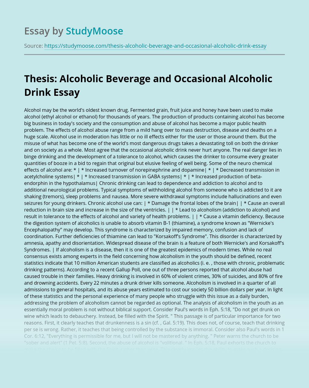 Thesis: Alcoholic Beverage and Occasional Alcoholic Drink