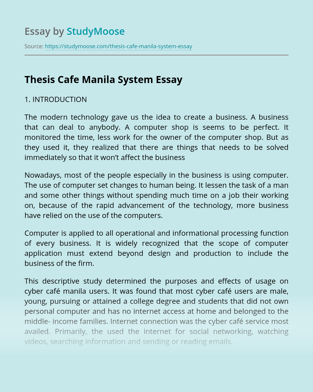 Thesis Cafe Manila System