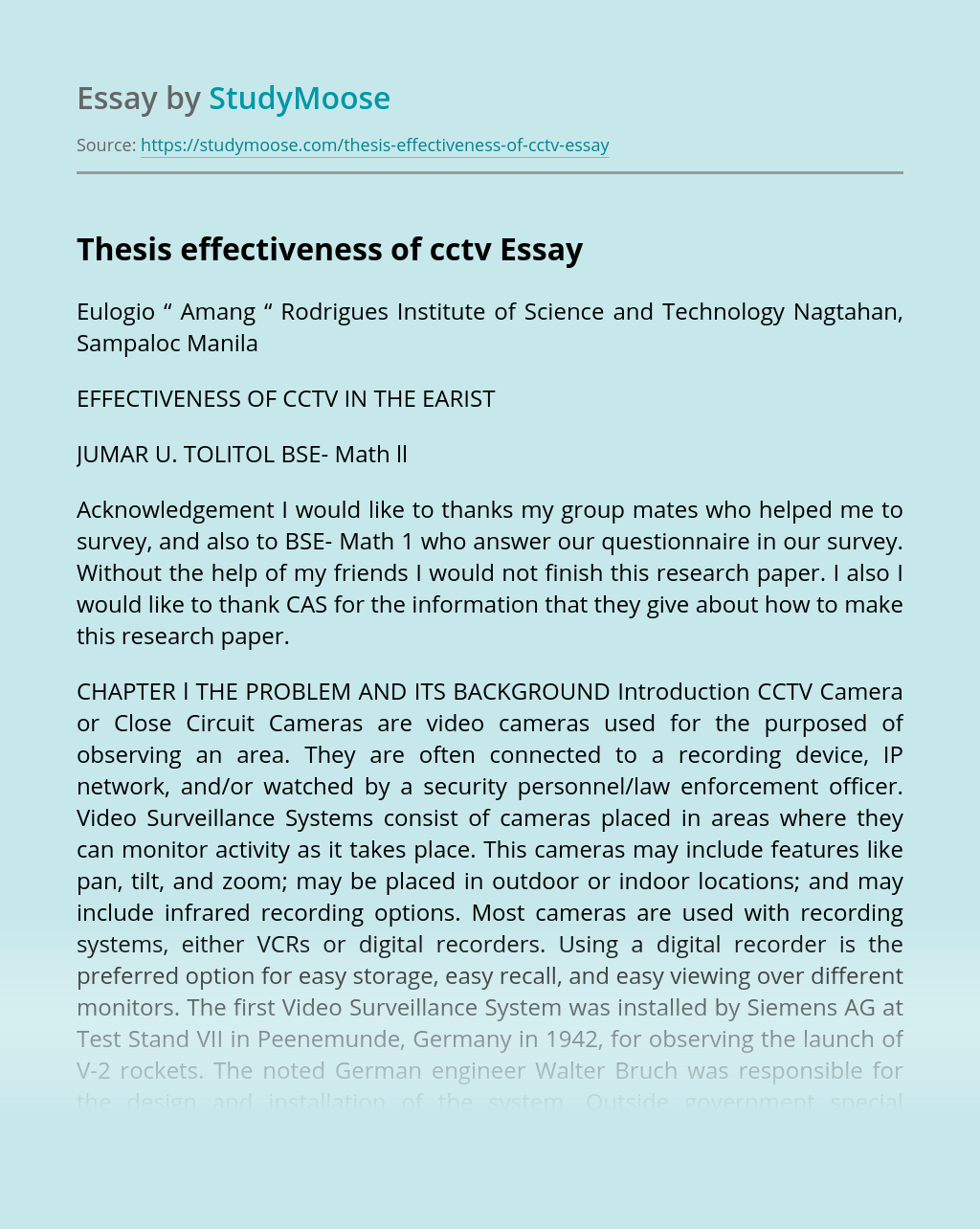 Thesis effectiveness of cctv