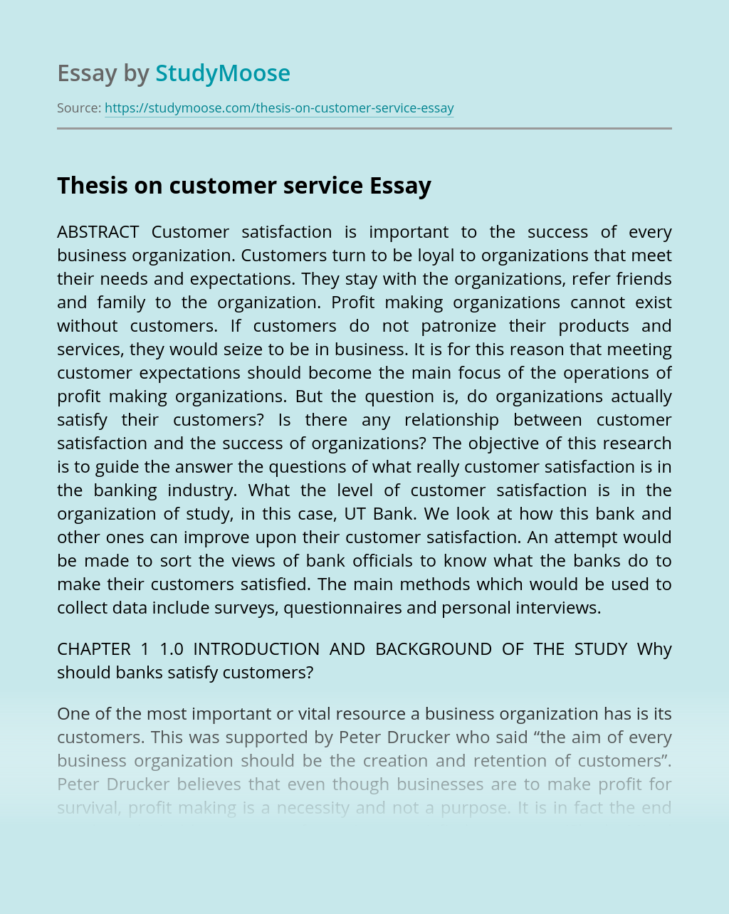 Thesis on customer service