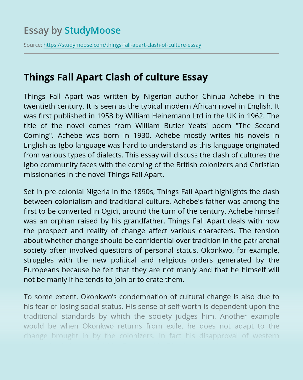 Things Fall Apart Clash of culture