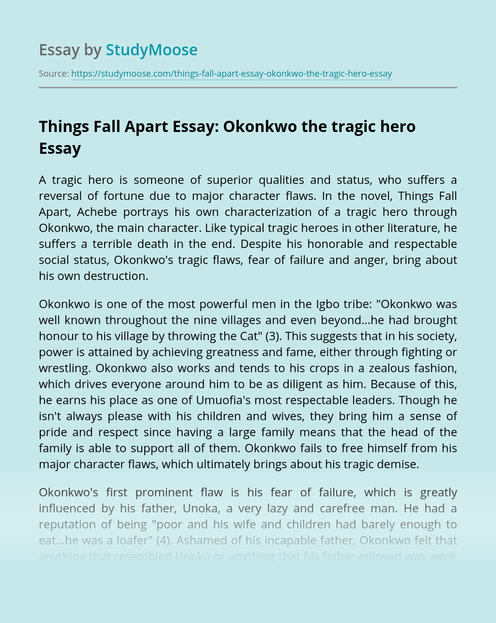 Things Fall Apart Essay: Okonkwo the tragic hero