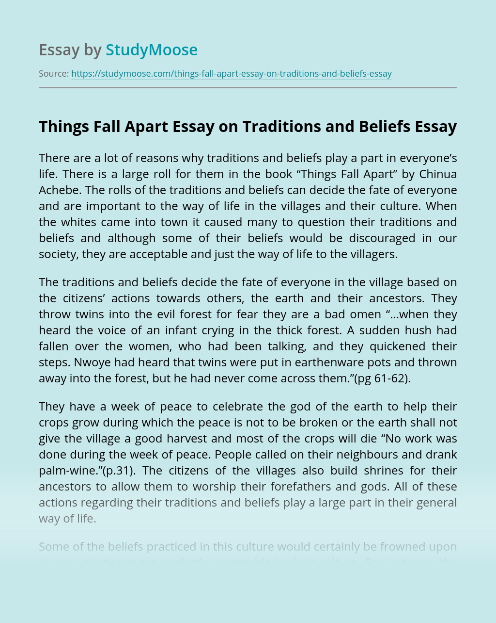Things Fall Apart Essay on Traditions and Beliefs