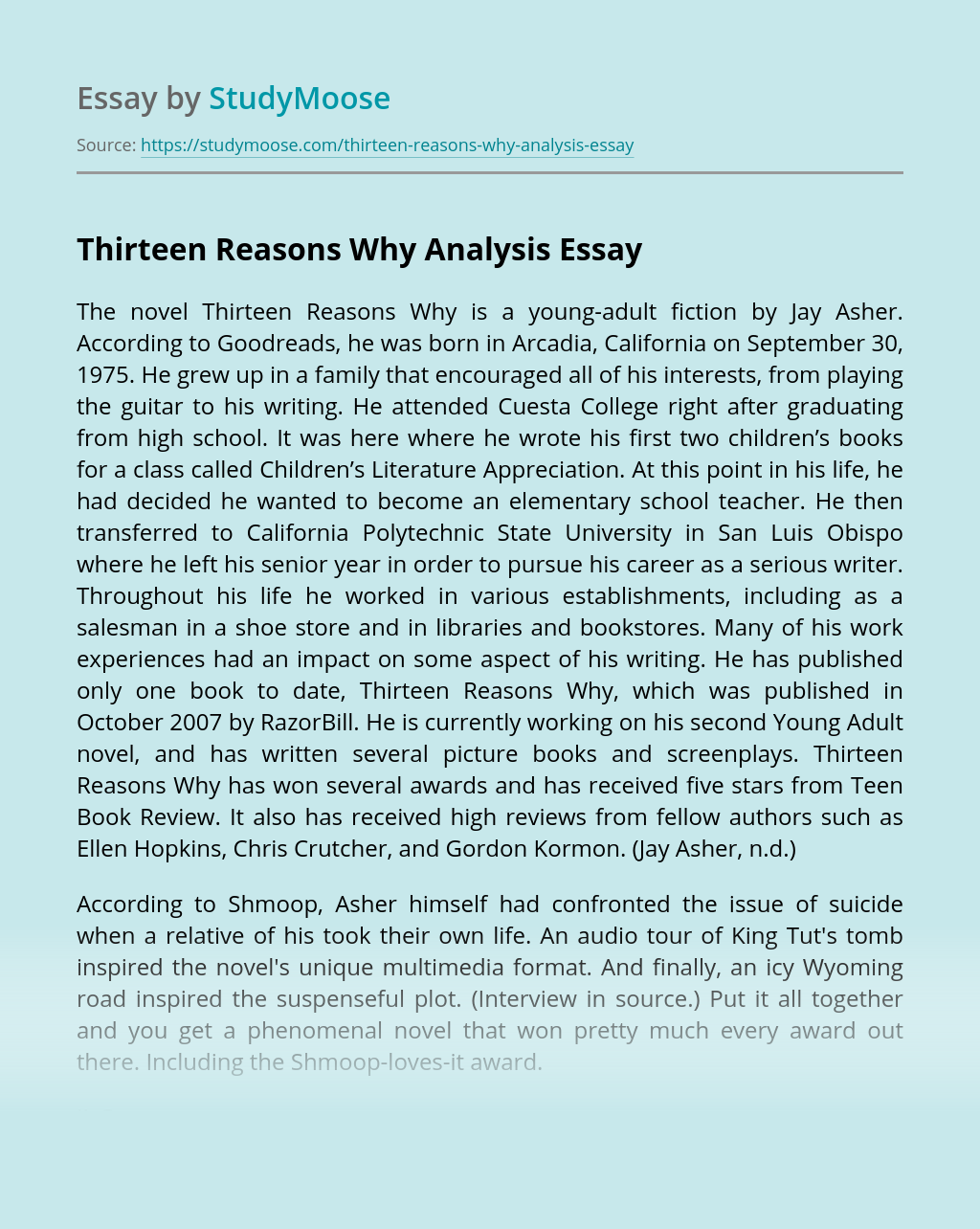 Thirteen Reasons Why Analysis