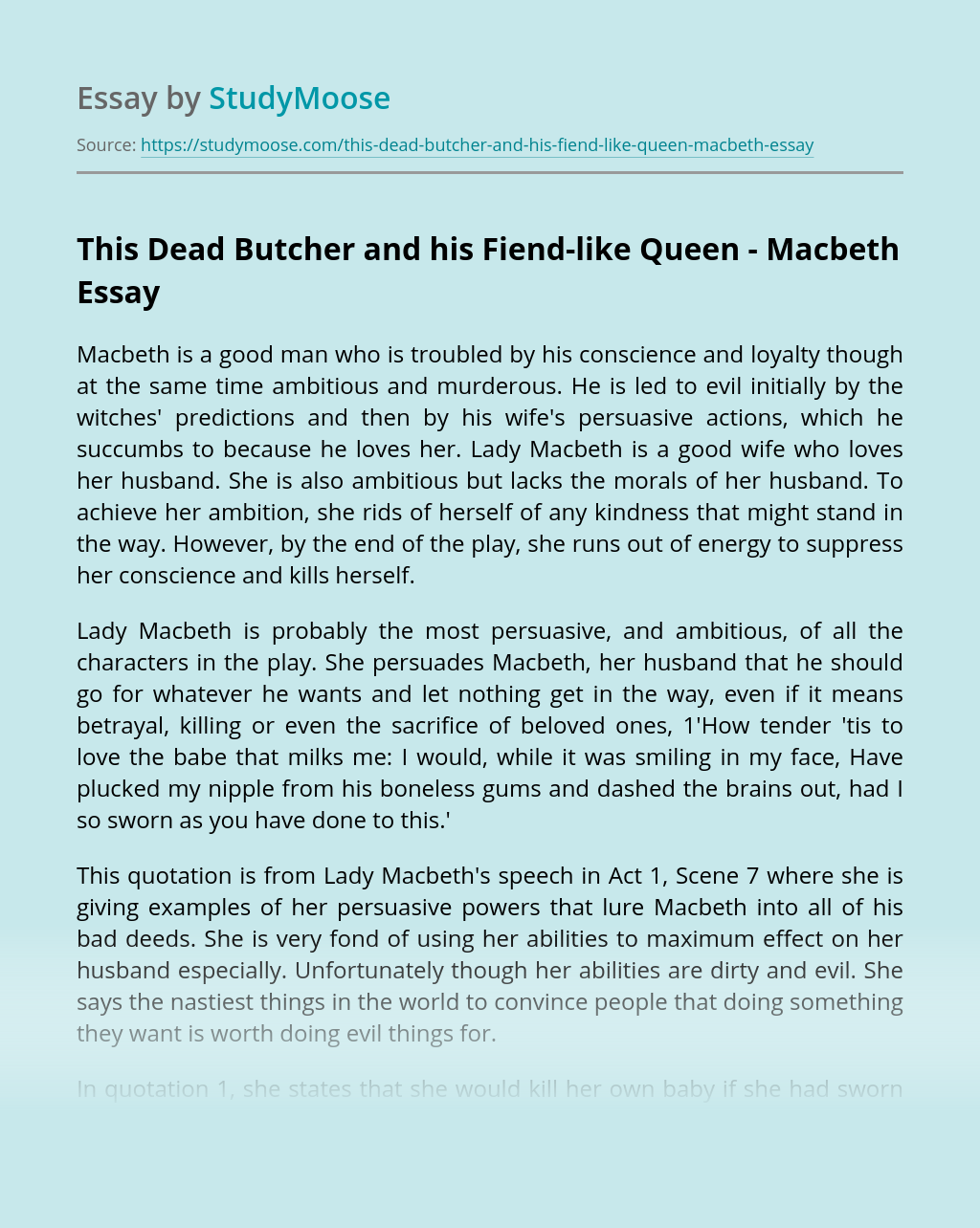 This Dead Butcher and his Fiend-like Queen – Macbeth
