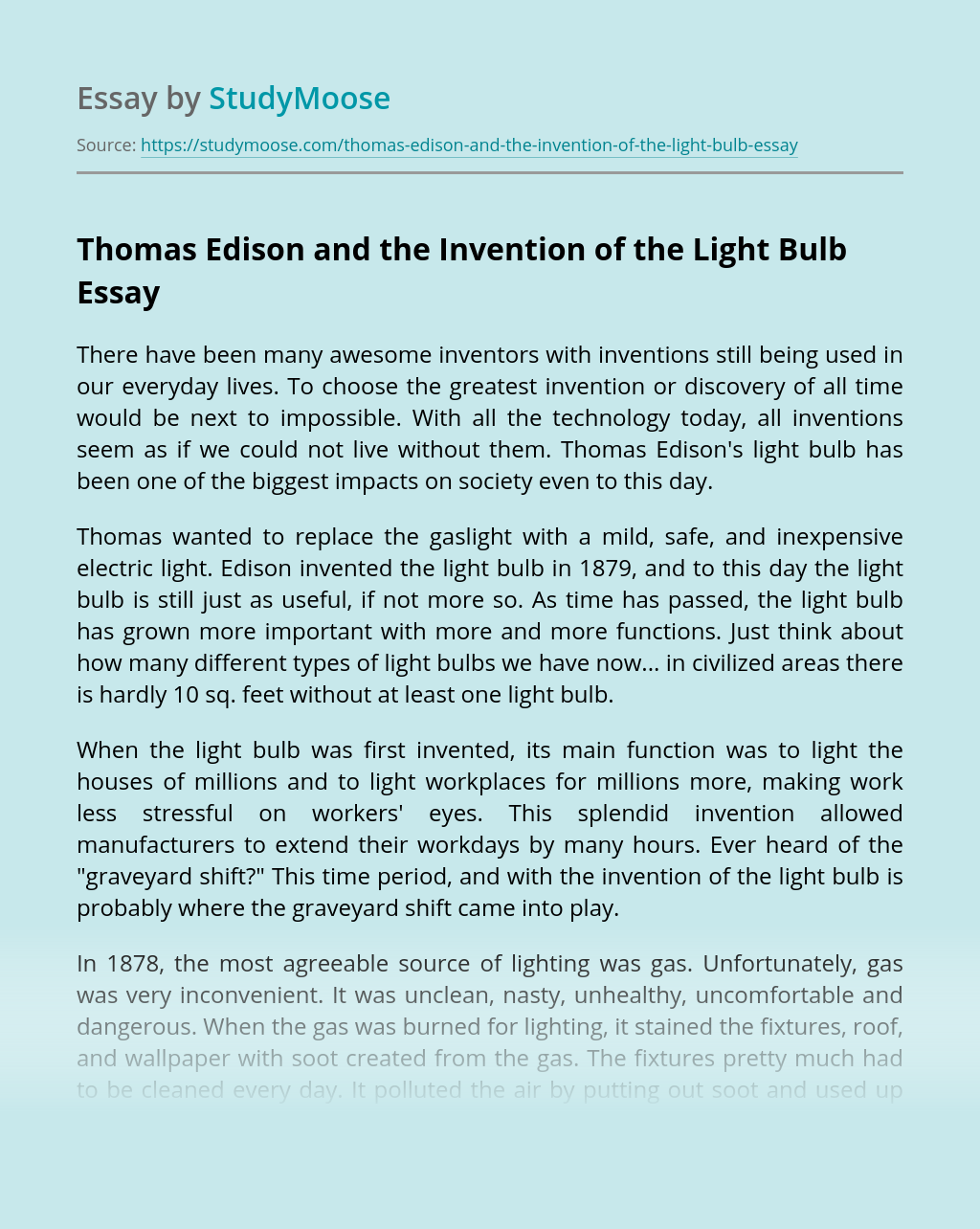 Thomas Edison and the Invention of the Light Bulb