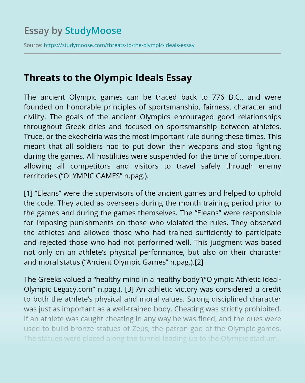 Threats to the Olympic Ideals