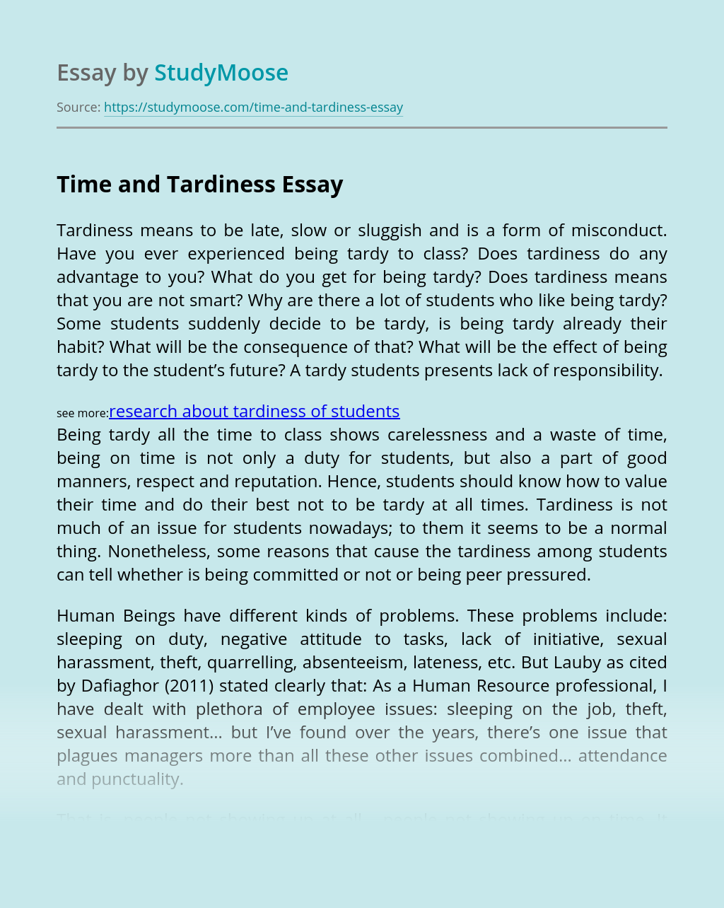 Time and Tardiness