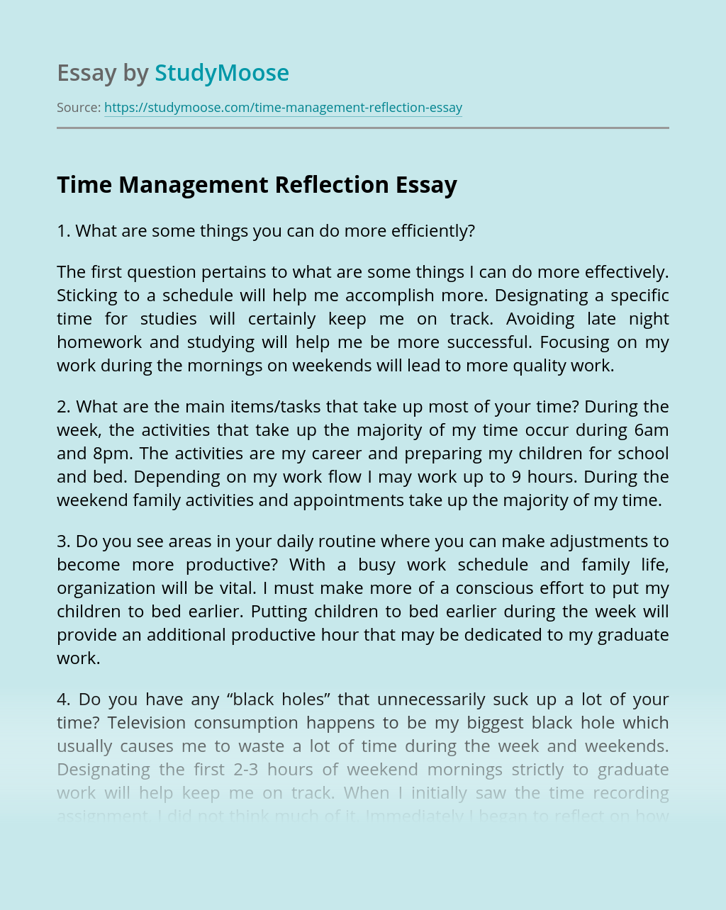 Time Management Reflection