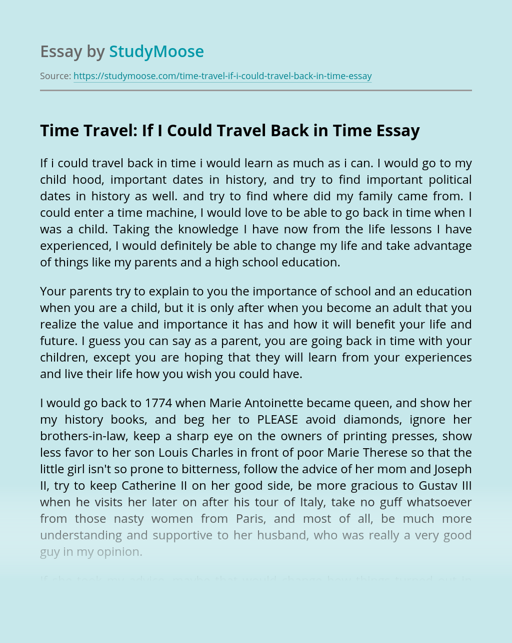 Time Travel: If I Could Travel Back in Time