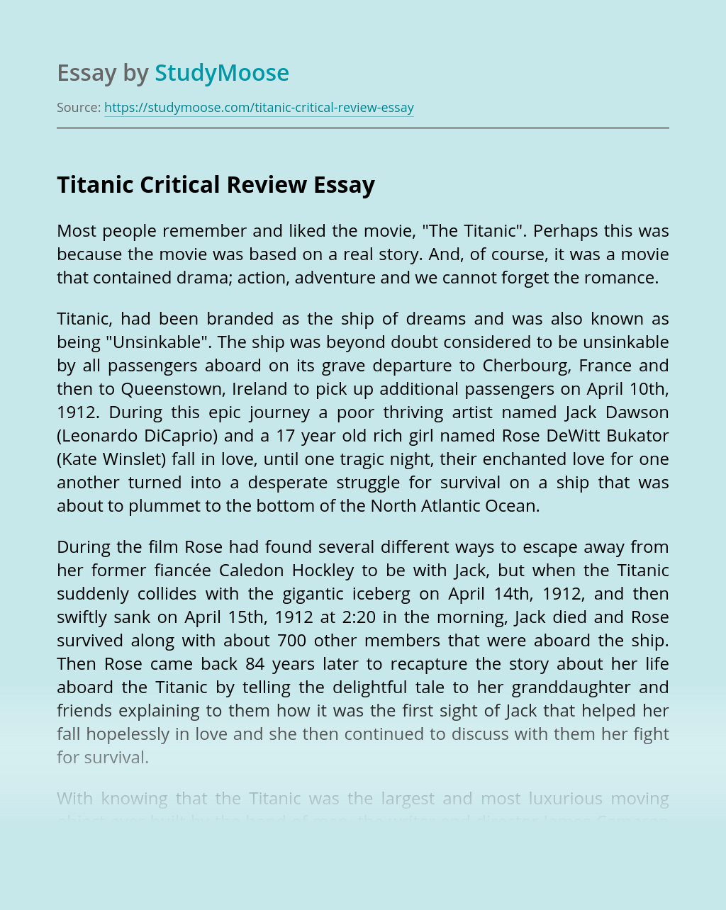 """""""The Titanic"""" Critical Review"""