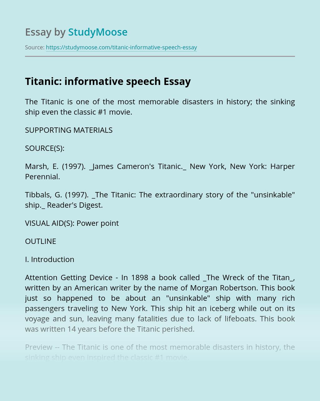 Titanic: Informative Speech