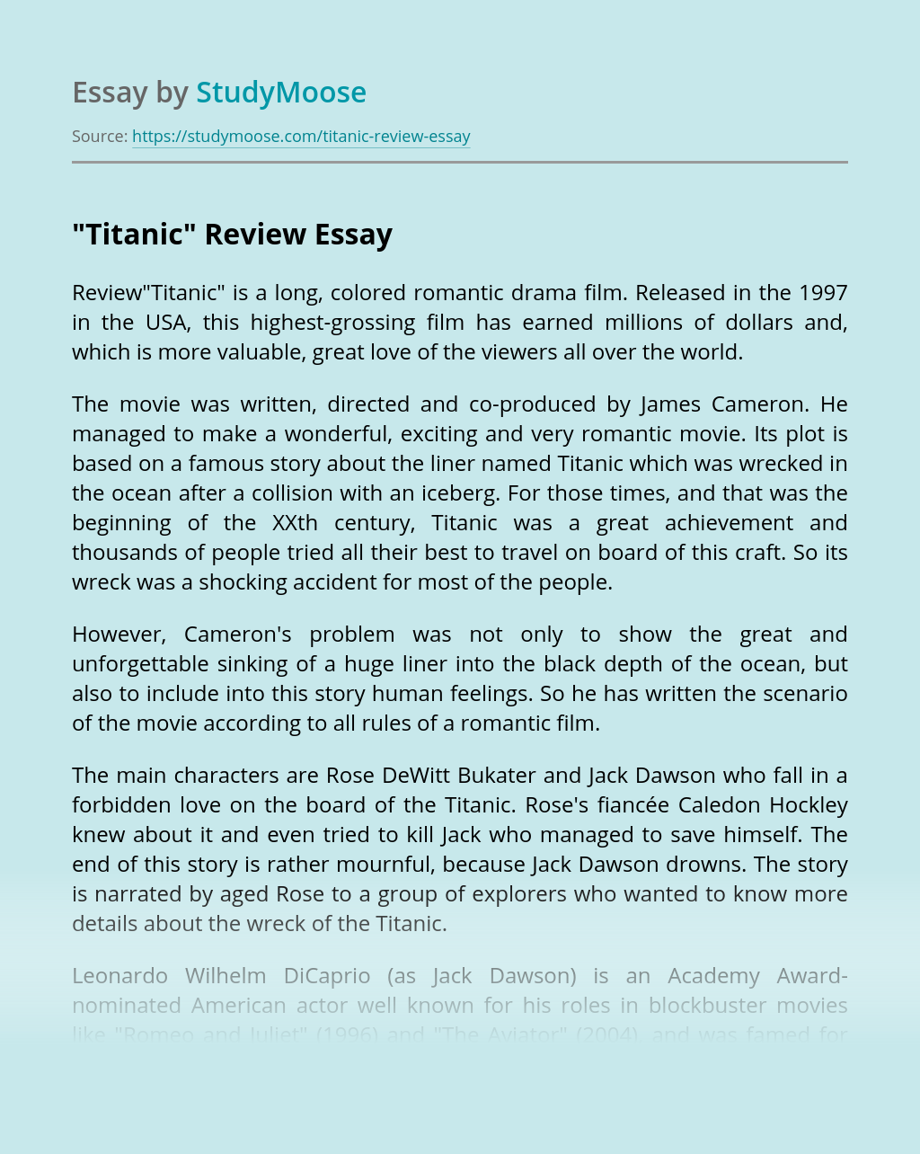 """""""Titanic"""" Colored Romantic Drama Film"""