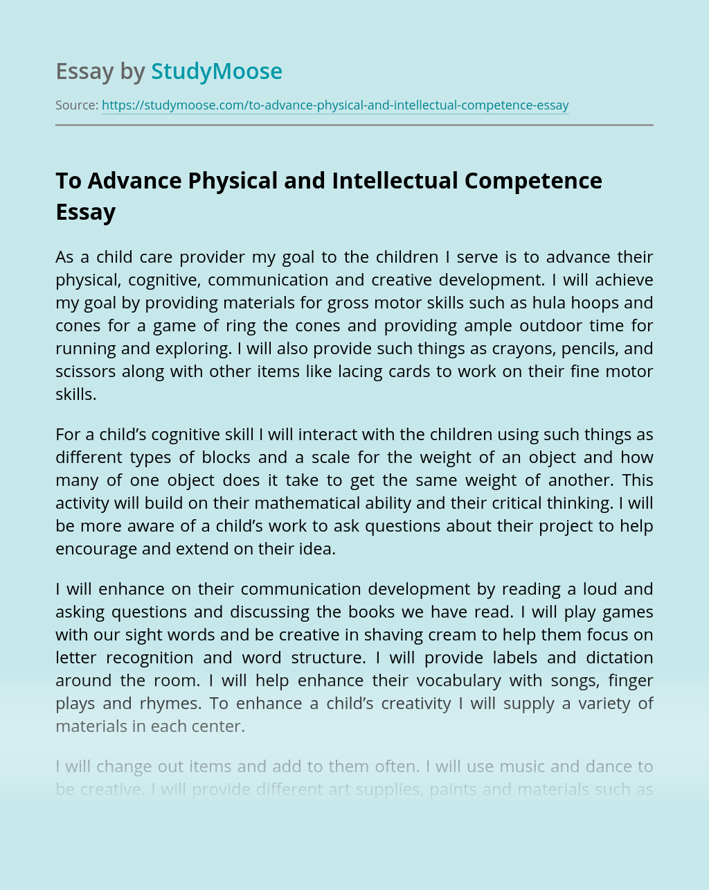 To Advance Physical and Intellectual Competence