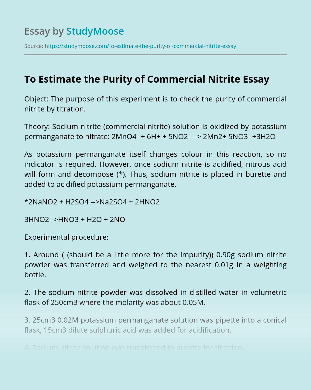 To Estimate the Purity of Commercial Nitrite