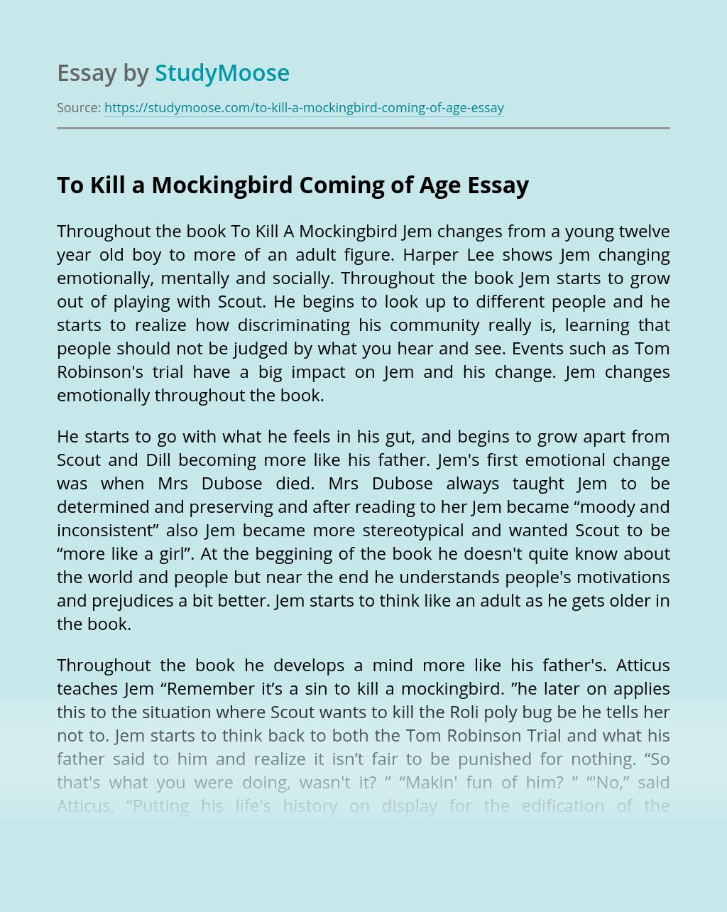 To Kill a Mockingbird Coming of Age