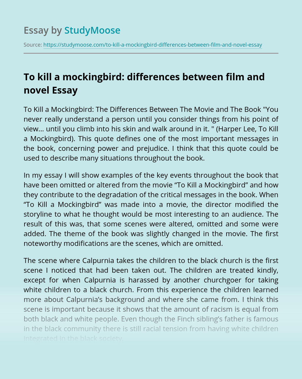 To kill a mockingbird: differences between film and novel