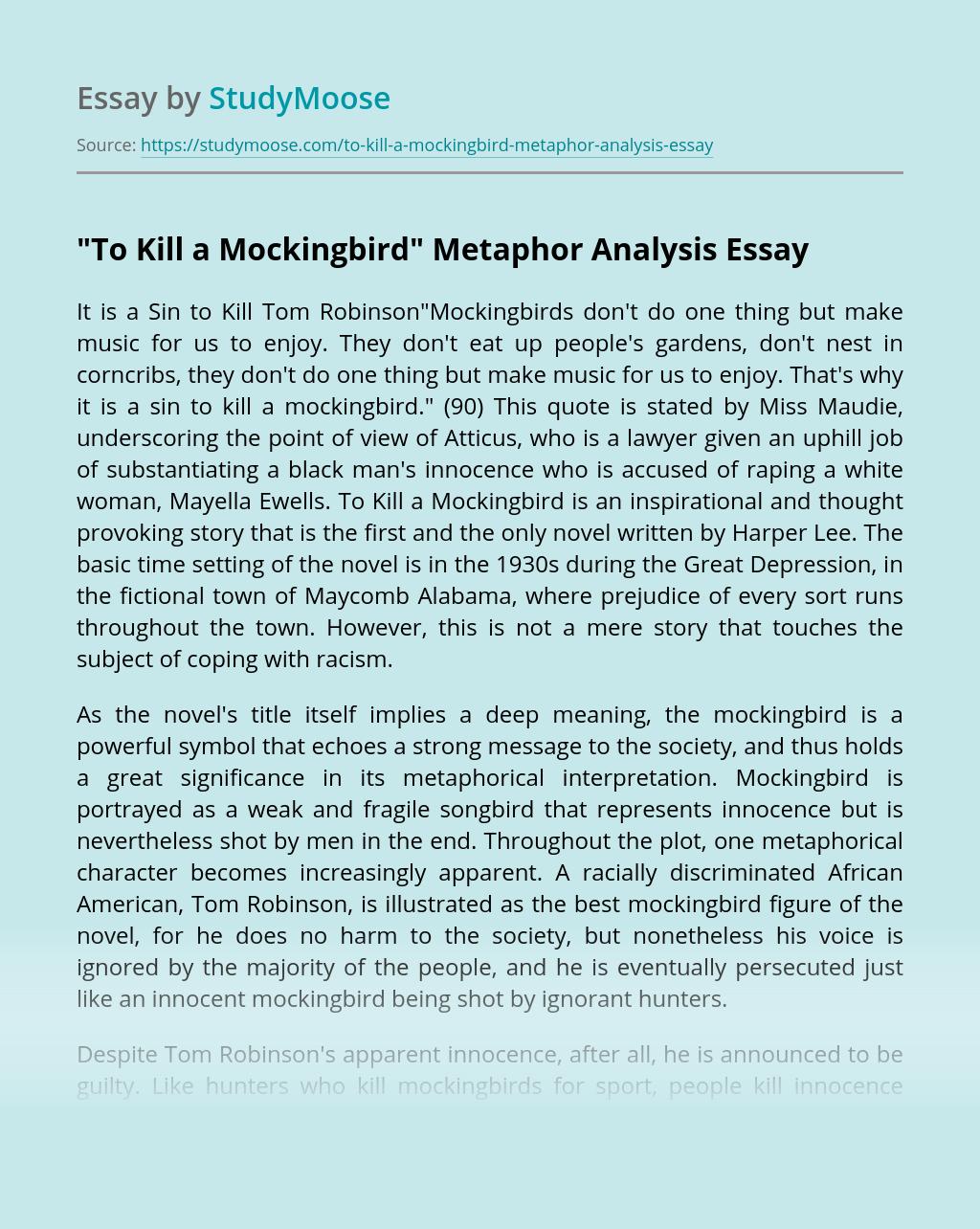 """To Kill a Mockingbird"" Metaphor Analysis"