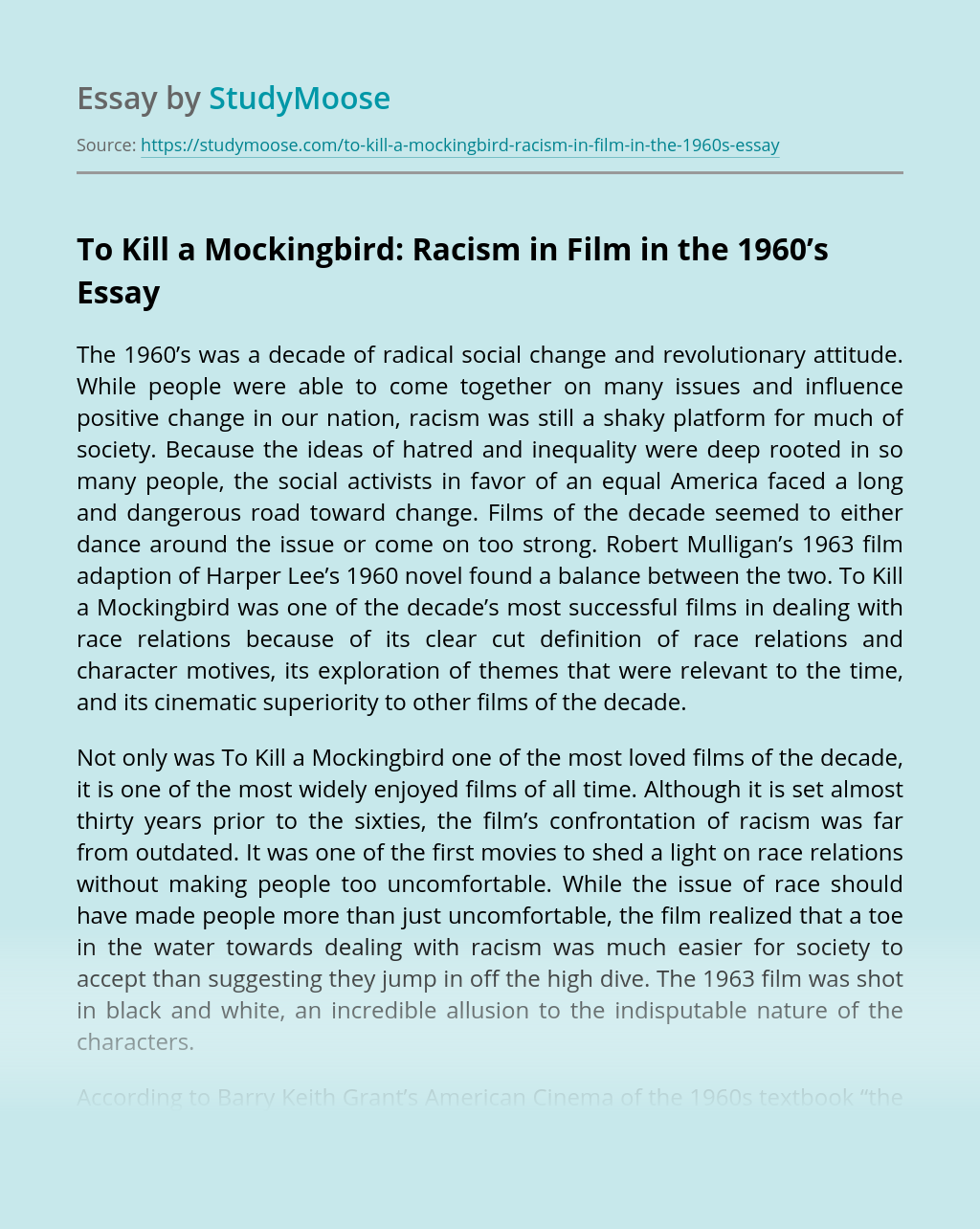 To Kill a Mockingbird: Racism in Film in the 1960's