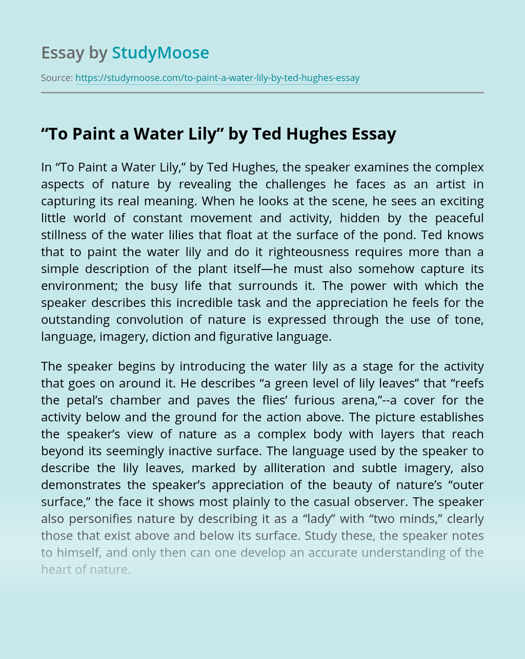 """To Paint a Water Lily"" by Ted Hughes"