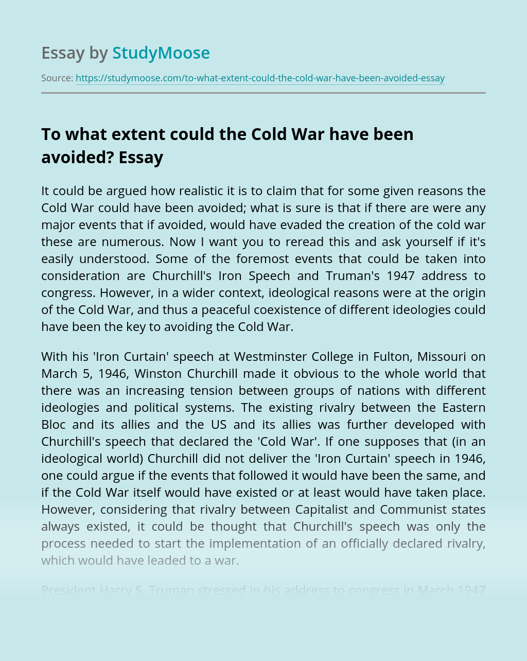 To what extent could the Cold War have been avoided?